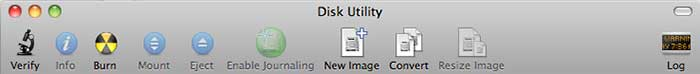 Disk Utility Tool Bar © Phil Gee
